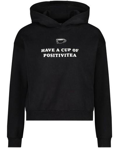 Zwarte hoodie met opschrift