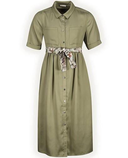 Kakigroene jurk met riempje Communie
