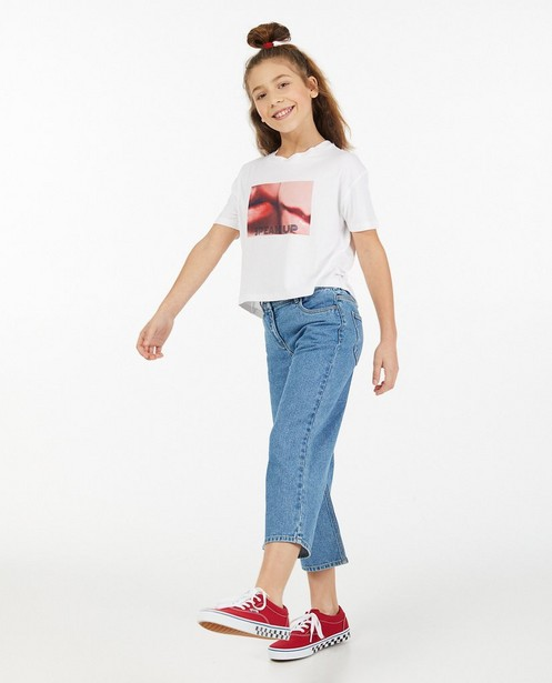 Blauwe denim culotte Peppa, 7-14 jaar - elastische tailleband - Fish & Chips