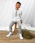 Wit hemd met stropdas Communie - met allover ruitpatroon - Kidz Nation