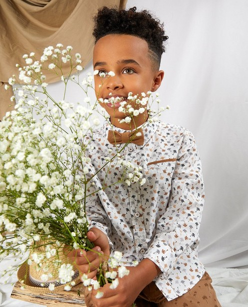 Chemise blanche avec un nœud papillon Communion - imprimé de palmiers - Kidz Nation