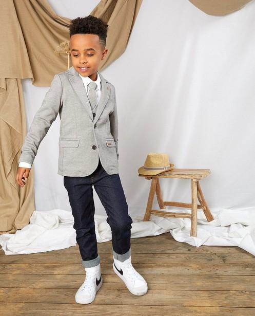 Grijsbruine blazer Communie - met print - Kidz Nation