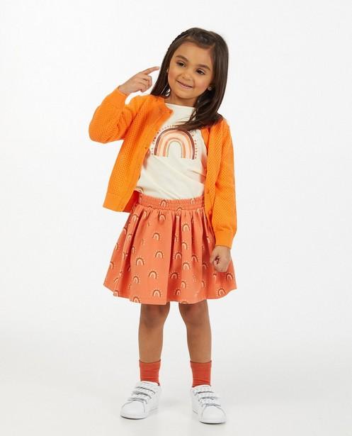 Oranje cardigan met ajourpatroon - van fijne brei - Milla Star