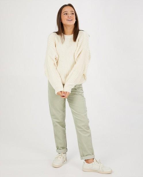 Witte trui van chenille - gebreid - Groggy