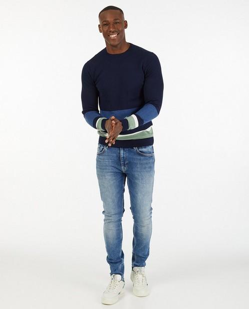 Donkerblauwe trui van biokatoen - met strepen - Iveo