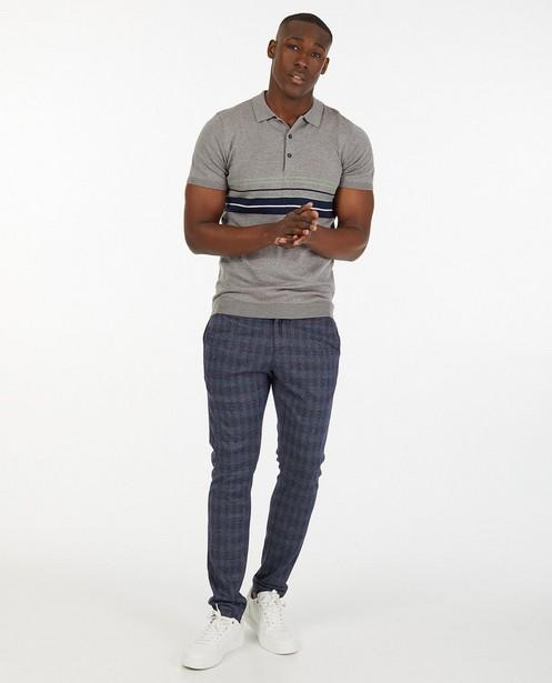 Polo gris rayé - en fin tricot - Iveo