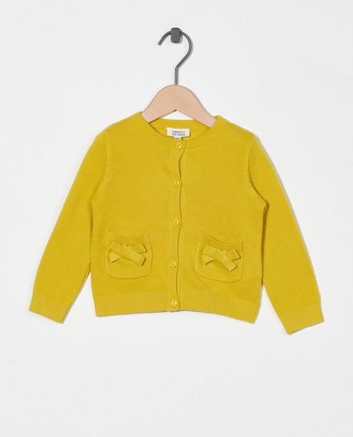 Cardigan jaune en coton bio - en fin tricot - Cuddles and Smiles