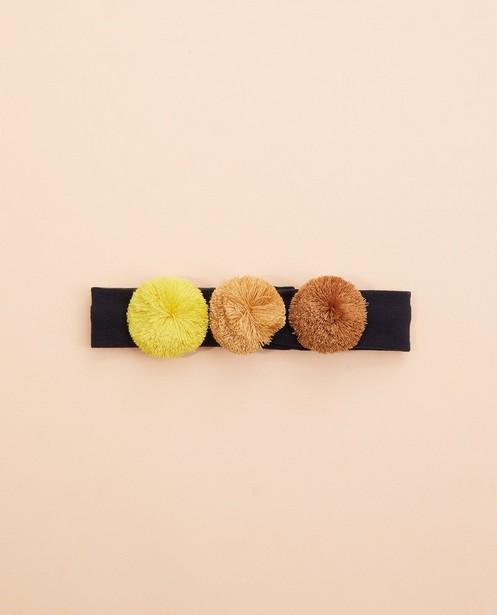 Bandeau avec des petits pompons - bleu, jaune et brun - Cuddles and Smiles