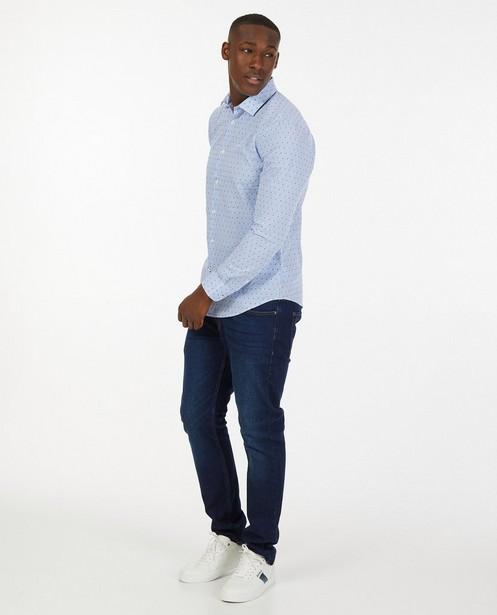 Lichtblauw hemd met strepen - en ruitjes - Iveo