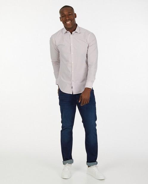 Wit hemd met oranje print - allover - Iveo