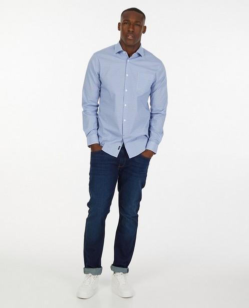 Blauw hemd met grafische print - allover - Iveo