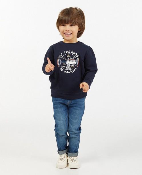 Blauwe sweater met print BESTies - stretch - Besties