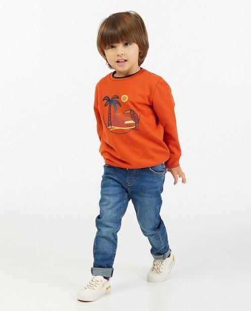 Oranje sweater met print BESTies - stretch - Besties