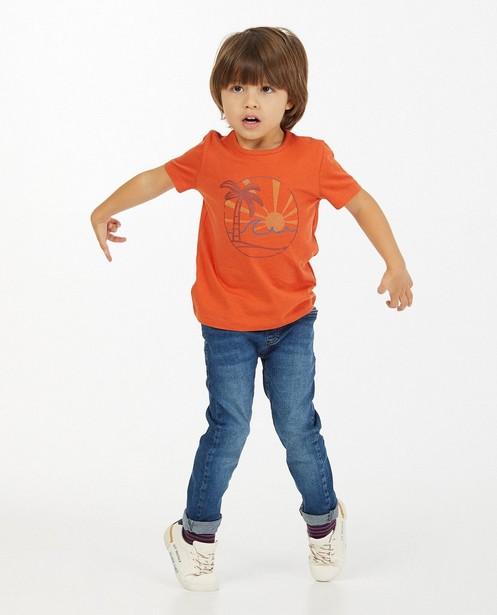 Oranje T-shirt met print BESTies - stretch - Besties