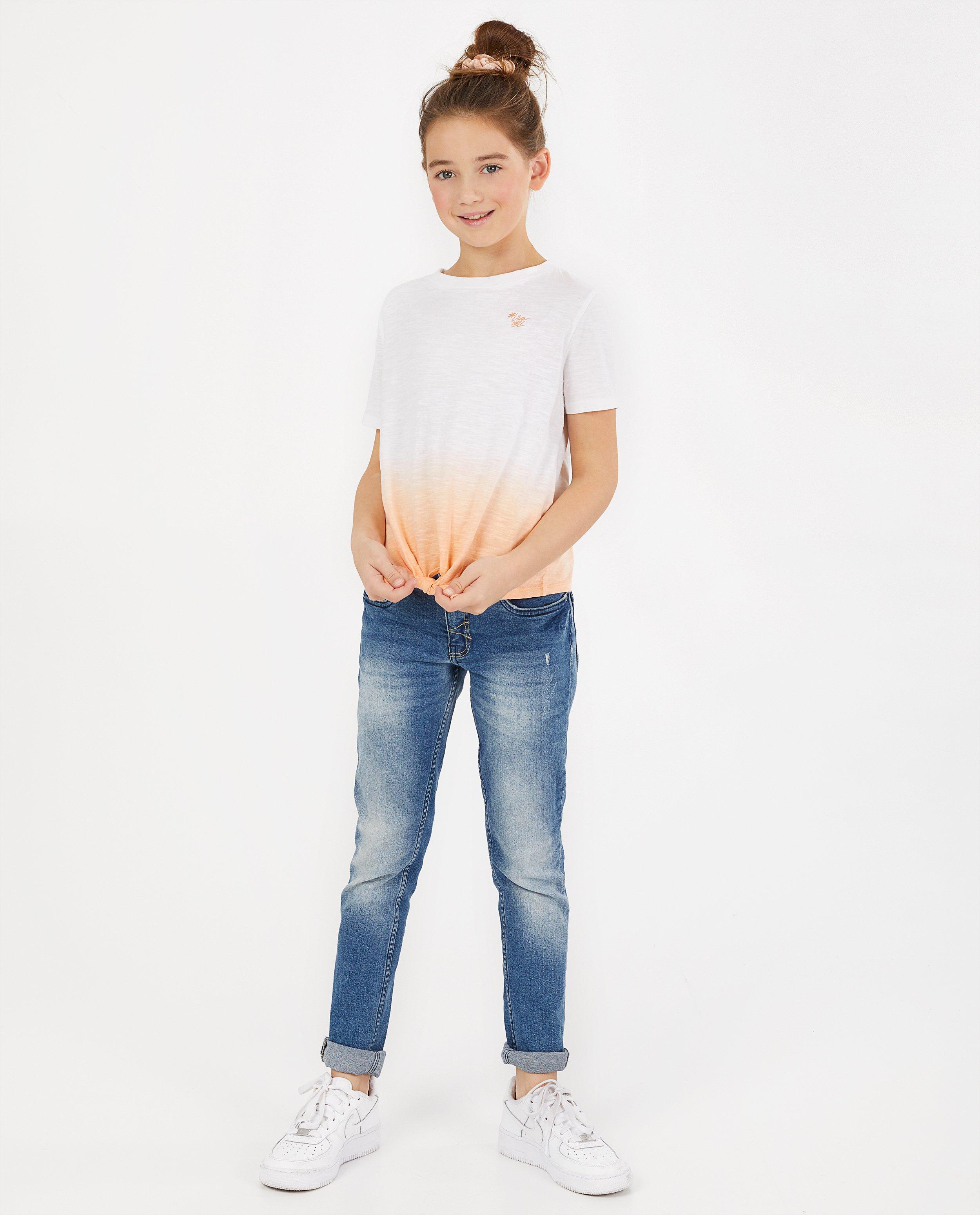T-shirt met gradiënt #LikeMe - met knoop - Like Me
