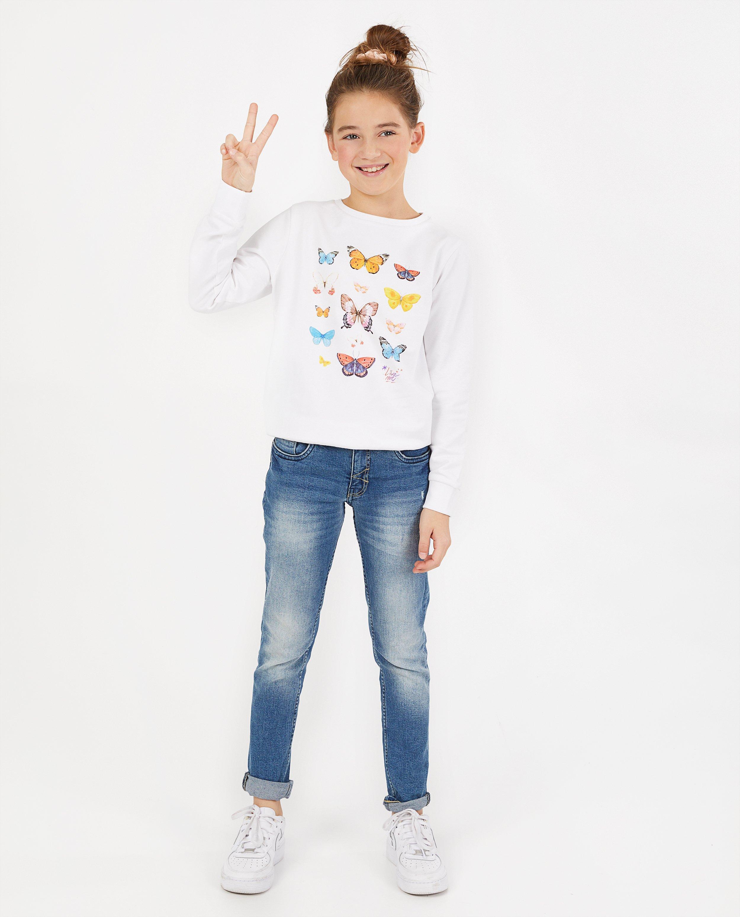Witte sweater met print #LikeMe - stretch - Like Me