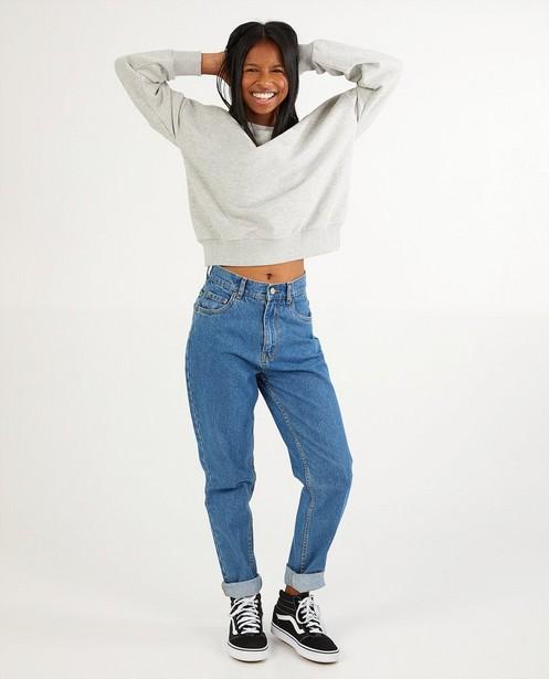 Lichtgrijze unisex sweater tieners - Kampsweater - JBC