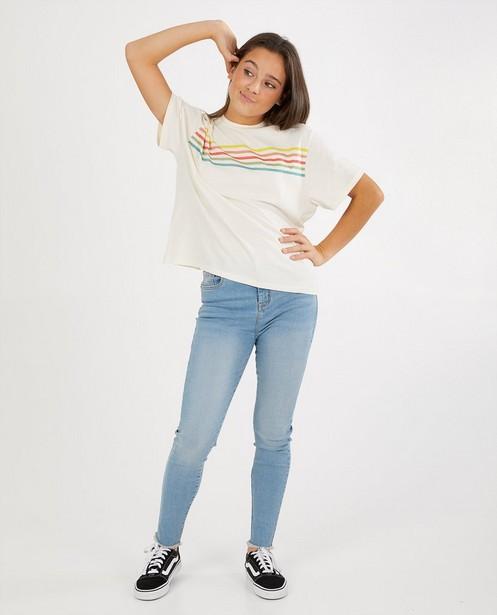 Offwhite T-shirt van biokatoen - met strepen - Groggy
