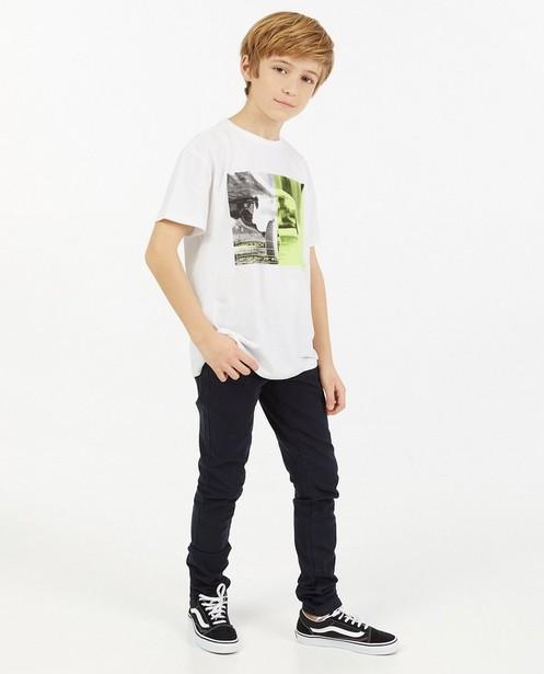Wit T-shirt met print - stretch - JBC
