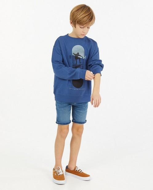 Sweat bleu à imprimé - avec du fleece brossé - JBC