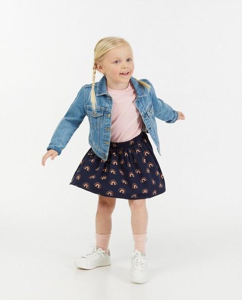 Blauwe rok met regenboogprint - allover - Milla Star