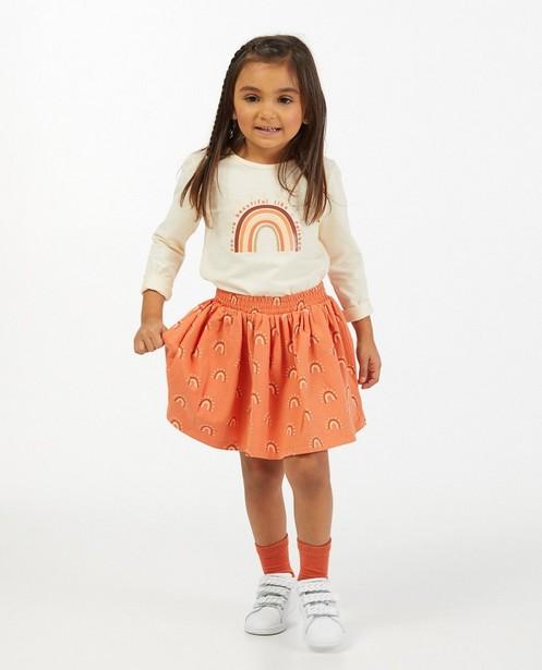 Oranje rok met regenboogprint - allover - Milla Star