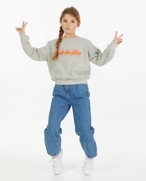Grijze sweater met opschrift - gemêleerd - JBC