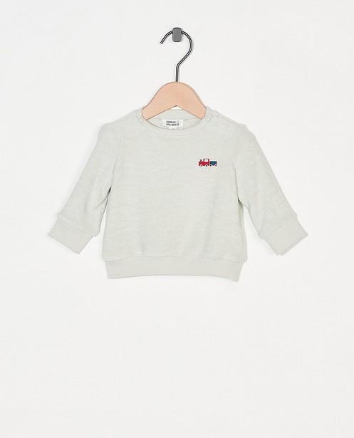 Lichtgroene sponzen sweater - met treintje - Newborn