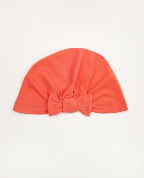 Bonnet rose en coton bio - avec un petit nœud - Newborn
