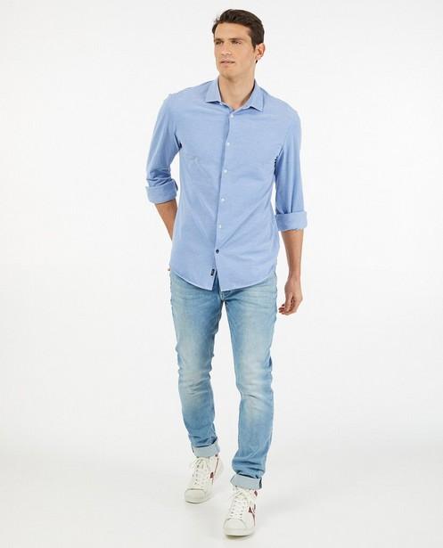 Lichtblauw hemd van piqué katoen - slim fit - Iveo