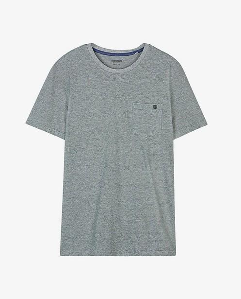 Biokatoen T-shirt met strepen - en borstzak - Quarterback