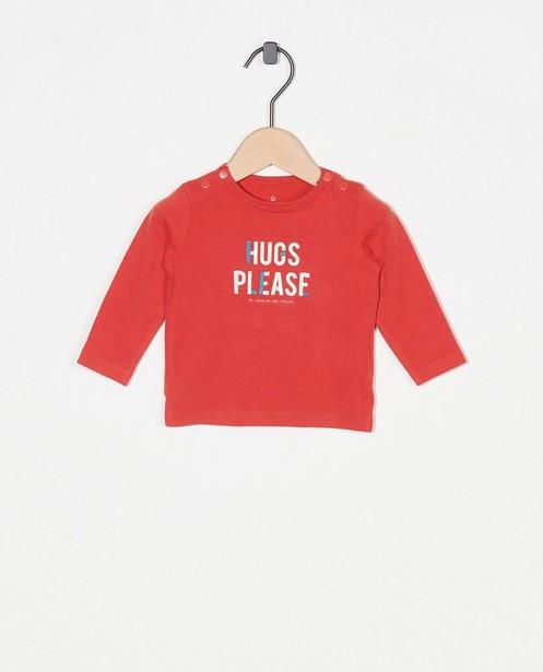T-shirt rouge à manches longues à inscription - avec boutons-pressions - Newborn