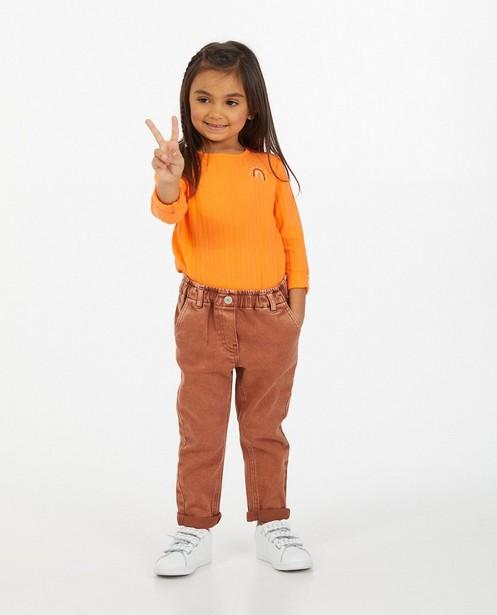T-shirt orange à manches longues avec relief côtelé - stretch - Milla Star