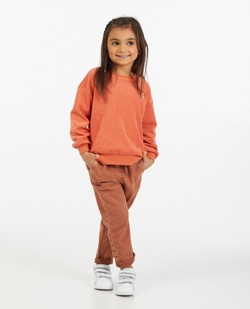 Oranje sponzen sweater met regenboog - stretch - Milla Star