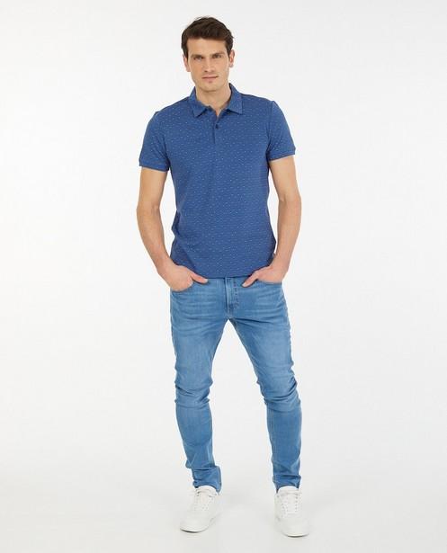 Blauwe polo met print - regular fit - Iveo