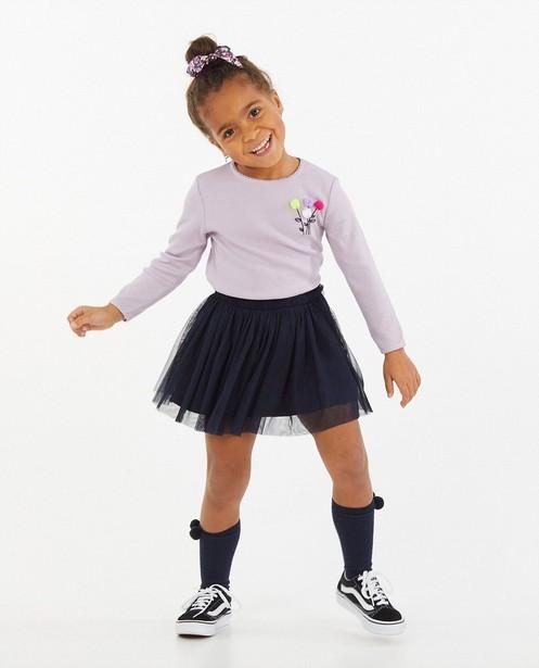 T-shirt lilas à manches longues à petites fleurs - relief côtelé - Milla Star