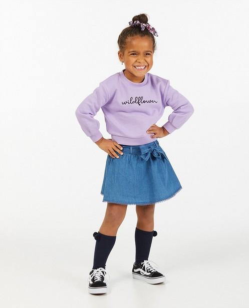 Lila sweater met opschrift - wildflower - Milla Star