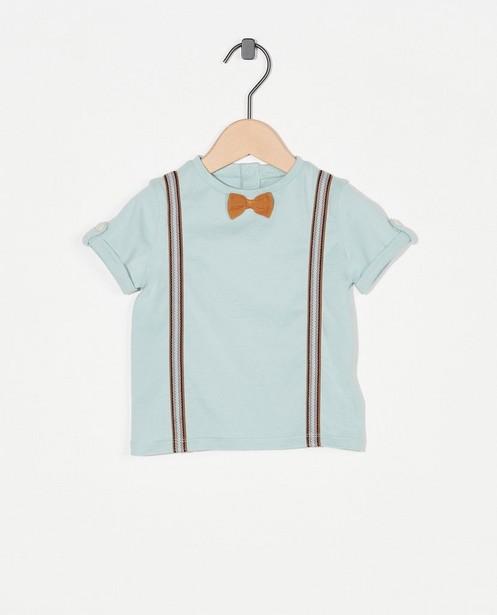 Lichtblauw T-shirtje met strikje Feest - premium - Cuddles and Smiles