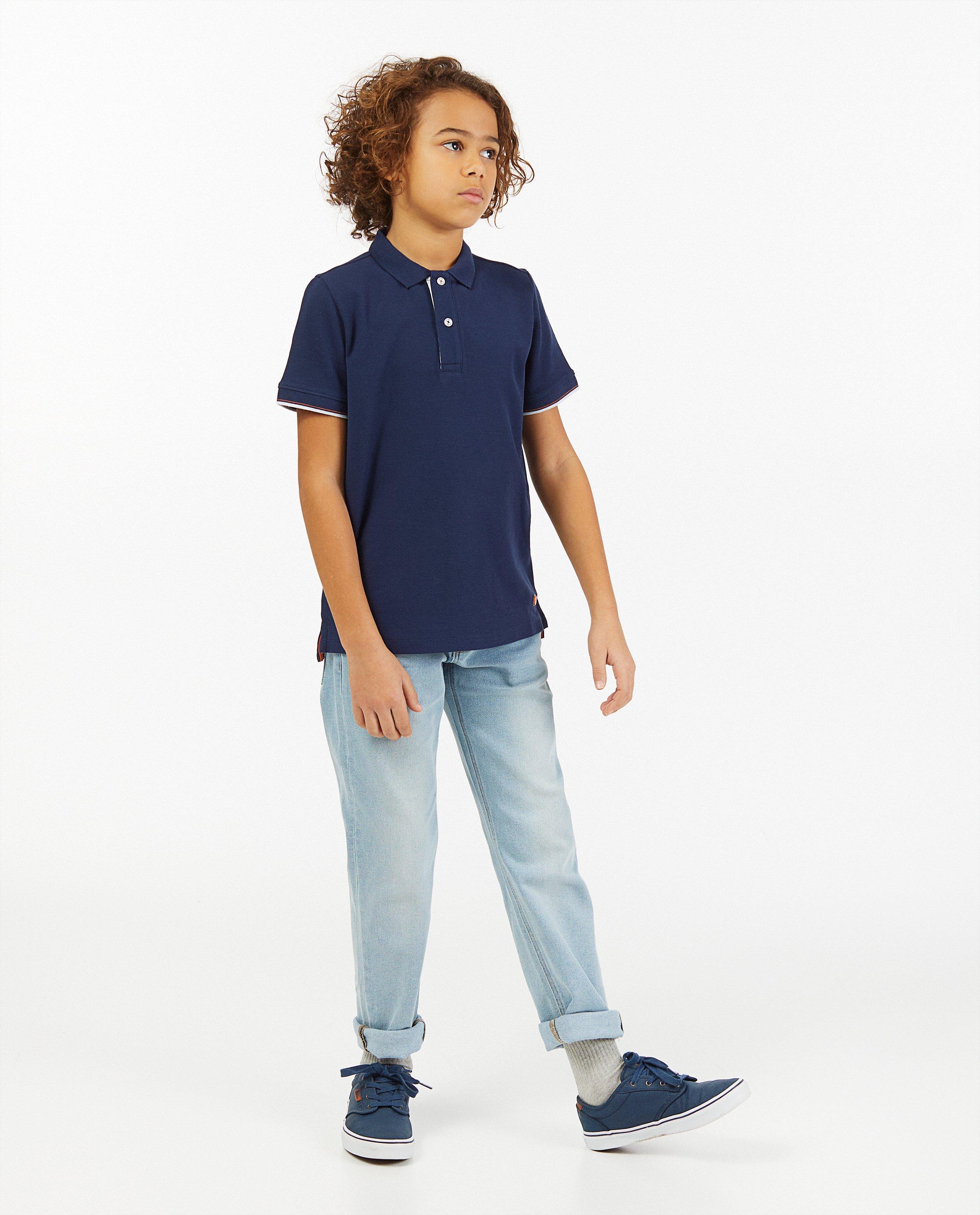 Blauwe polo #LikeMe - met korte mouwen - Like Me