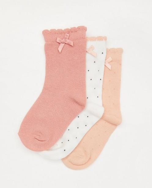 Set van 3 paar babykousjes in roze - met strikjes - Cuddles and Smiles