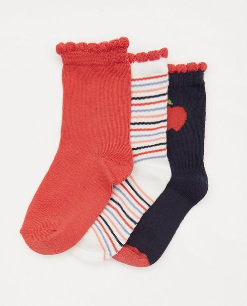 Lot de 3 paires de chaussettes pour bébés - bleues et rouges - Cuddles and Smiles