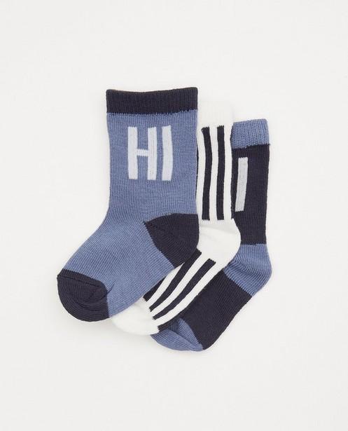Lot de 3 paires de chaussettes pour bébés bleues - à inscription - Cuddles and Smiles