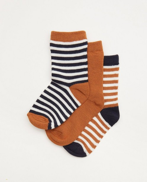 Lot de 3 paires de chaussettes pour bébés brunes - à rayures - Cuddles and Smiles