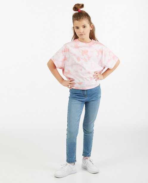 Tie dye T-shirt in roze Elisa Bruart - losse fit - Elisa Bruart