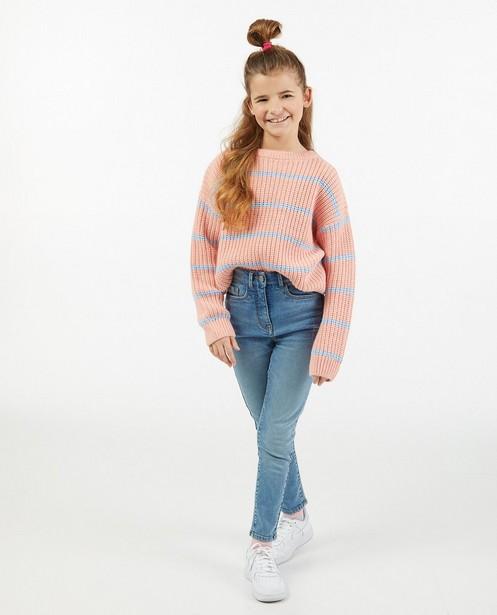 Roze trui met strepen Elisa Bruart - gebreid - Elisa Bruart
