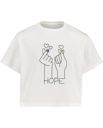 Wit T-shirt met print Nour en Fatma