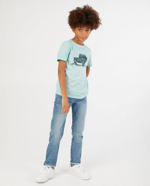 Lichtblauw T-shirt van biokatoen - verwassen - Fish & Chips