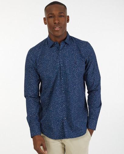 Donkerblauw hemd met print Lerros