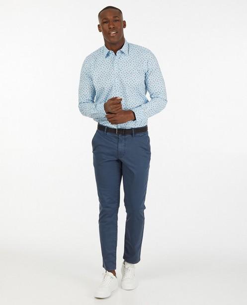 Lichtblauw hemd met grafische print - allover - Lerros