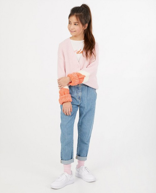 Roze cardigan van fijne brei - stretch - Fish & Chips